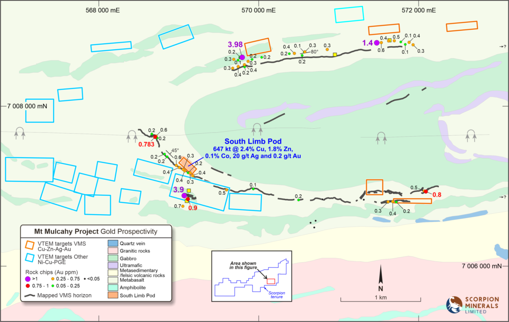 Diagram showing Geology and historic historic local rock chip and soil sampling data, with 2011 VTEM targets highlighted